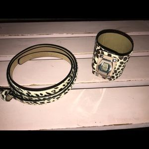 Ann Taylor Wide Cheetah Cuff and Skinny Belt